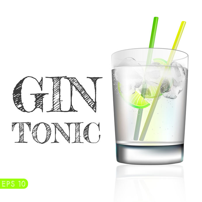 Gin and tonic in a balloon glass garnished with lemon, isolated over awhite background. Vector