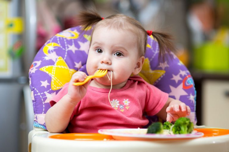 toddler girl in a highchair for feeding with fork and plate at home