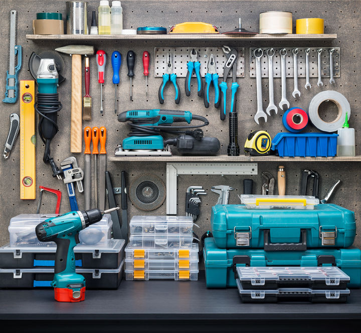 Workshop scene. Tools on the table and board.