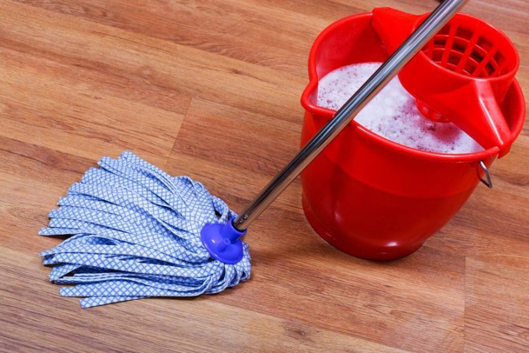 blue textile mop and red bucket on wooden floor