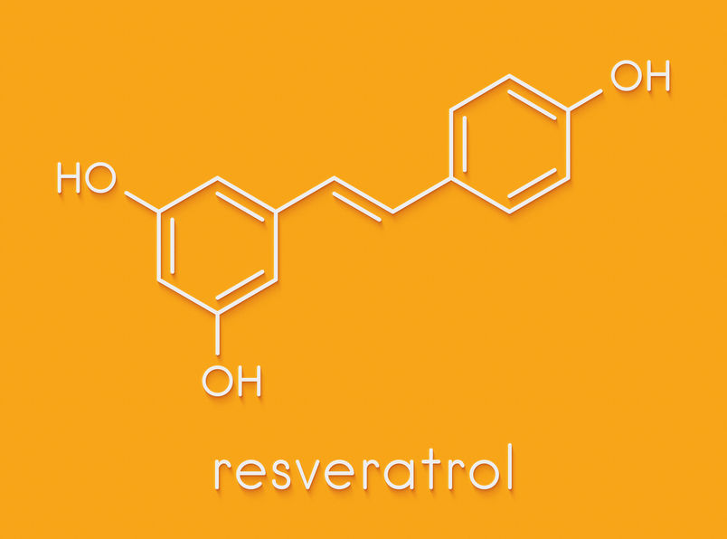 Resveratrol molecule. Present in many plants, including grapes a
