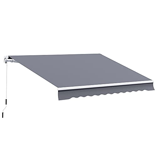 Outsunny 4m x 3(m) Garden Patio Manual Awning Canopy Sun Shade Shelter Retractable Grey
