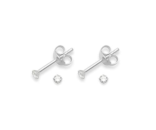 Set of 2 PAIRS Heather Needham Sterling Silver Cubic Zirconia stud Earrings - SIZE: TEENY TINY 2mm - Very Small & discreet. Gift Boxed. 5549CL