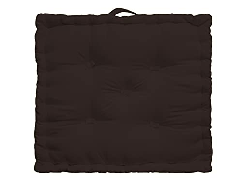 Tiny Break - 100% Cotton - Large Floor Cushion - Indoor - Garden - Dining Chair Booster - Seat Pad Cushion - 50 x 50 x 10 cm Square - Brown