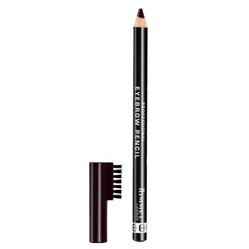 Rimmel London Professional Eyebrow Pencil, Precise Pencil with Built-in Brush, Black Brown, 1.4 g