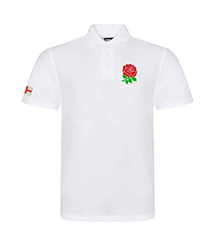 Superlemon England English Adults Rugby Exclusive Retro Vintage Mens Womens Unisex White Polo Shirt, Great for Any English Rugby Fans for 6 Nations and World Cup Available Upto 7XL (X-Large)