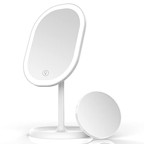 Aidodo Makeup Mirror with LED Lights, Portable and USB Rechargeable Professional Makeup Mirror, Touch Screen Switch, 180 Degree Rotation for Bedroom Makeup Shaving and Travel