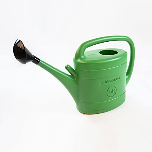 Prosperplast 14L Green Plastic Watering Can w/Black Rose Head For Veg Patches & Large Plants