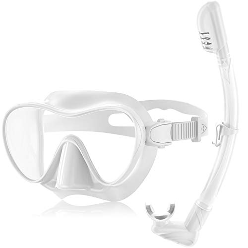 Splonary Dry Snorkel Set, Anti-leak Frameless Scuba Diving Mask with Anti-fog Tempered Glass Lens, Easy Breathing Foldable Snorkeling Tube Gear Panoramic Wide View Diving Goggles for Adults