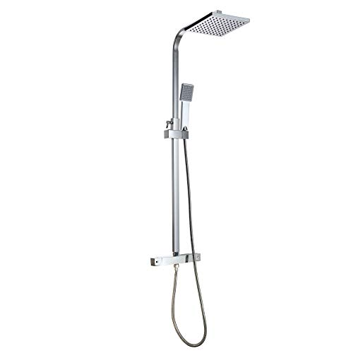 CO-Z Thermostatic Shower Mixer 20cm 8 Inch Modern Chrome Square Mixer Shower Head Kit for Bathroom Adjustable Height Overhead Rain Shower and Handheld Shower Dual Riser Kit