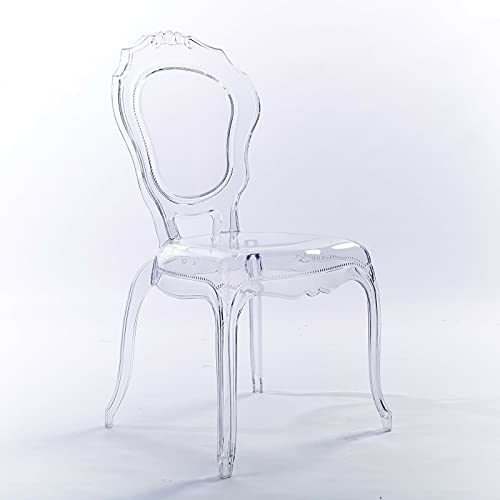 Niches Premium French Ghost V2 Transparent Clear Dinning Side Chair Style Clear Plastic Stack-able Dining Chair Kitchen/Dressing Room/Bedroom/Dining/Feature Chair for Bars/Restaurants/Cafeteria.