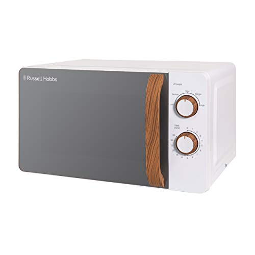 Russell Hobbs RHMM713 17 L 700 W Scandi Compact White Manual Microwave with 5 Power Levels, Wood Effect Handle & Dials, Timer, Defrost Setting, Easy Clean