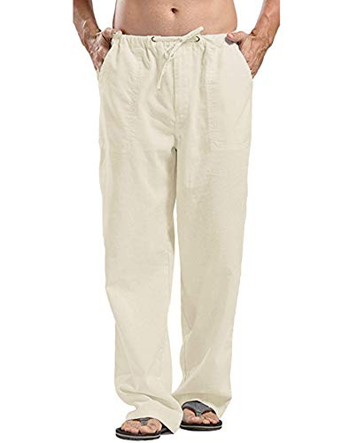 Jhsnjnr Mens Linen Pants Beach Casual Summer Elastic Waist Drawstring Loose Fit Trousers with Pockets Beige/L