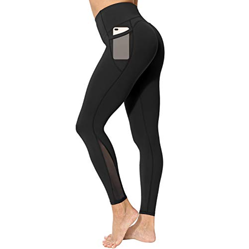 neppein Yoga Pants with Pockets,High Waist Tummy Control Stretch Gym Workout Running Leggings,Fitness Sports Tights for Women