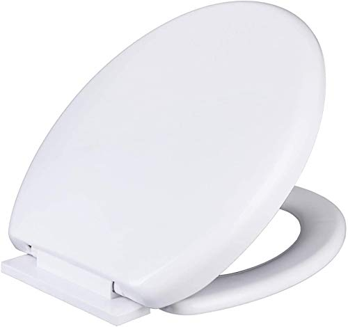 Toilet Seat, Slow Soft Close Toilet Seats White, Top Fixing, Stay Tight Toilet Lid Oval Shape, Heavy Duty Urea-Formaldehyde Anti-Bacterial Material Hygienic Easy to Clean for Bathroom Washroom Home