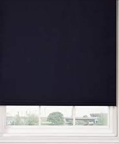 Renaissance Straight Edge Plain Roller Blind - 5 Modern Colours in Various Sizes- Trimmable with Metal Fittings (Black, 90cm)