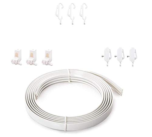 Home Treats Coiled Curtain Track - 350cm and 500cm, Bendable Curtain Rail For Straight And Bay Windows (500cm)