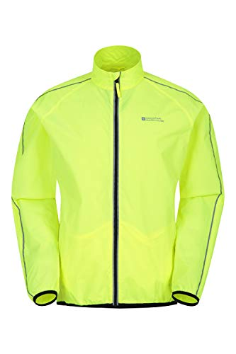 Mountain Warehouse Force Mens Water-Resistant Running Jacket - Unisex Rain Jacket, Mesh Panels Raincoat, Scooped Back -Best for Running, Cycling Yellow L