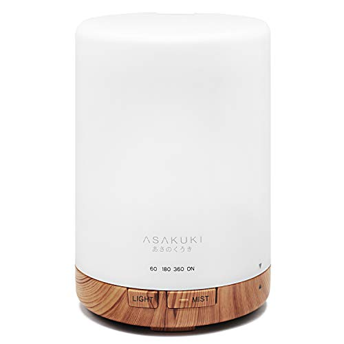 ASAKUKI 300ml Essential Oil Diffuser, Ultrasonic Aromatherapy Scented Diffuser Humidifier for Bedroom,Baby Room,Spa with 7 LED Color Lights and Waterless Auto Shut-Off, BPA-Free- Wood Grain