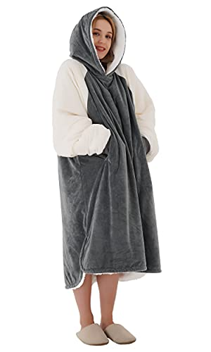 Winthome Lengthen Oversized Blanket Hoodie with Sherpa Lining Soft & Warm for Men Women Adults Teens (Grey/Cream, M)