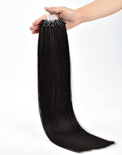 50cm 100% Brazilian Remy Natural Hair Extension 0.5g/s 100s 50g Easy Loop Micro Ring Hair Extensions (18 inch, 1B)