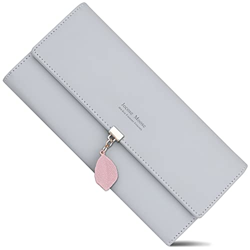 Ladies Purse, Women's Wallet with Multiple Card Slots, PU Leather Long Wallet with Leaf Pendant Card Holders Phone Pocket Zipper Coin Purse (Gray)