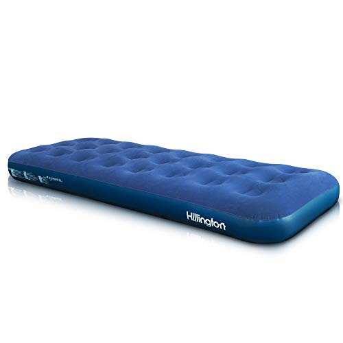 Hillington Flocked Air Bed Ideal for Camping or as a Temporary Guest Airbed - Waterproof Flocked Topping and Large Valve for Rapid Inflation and Deflation - Folds for Storage (Single)