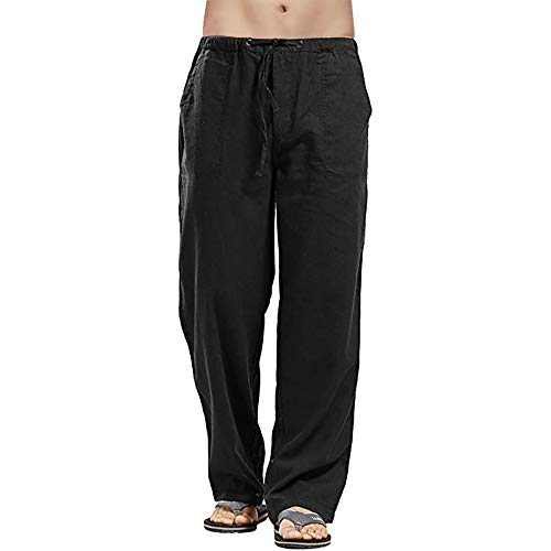 Men Pant Linen Elastic Drawstring Trousers with Pockets Loose Fit Yoga Pant Lightweight Breathable Gym Summer Spring Straight Leg (Black, L)