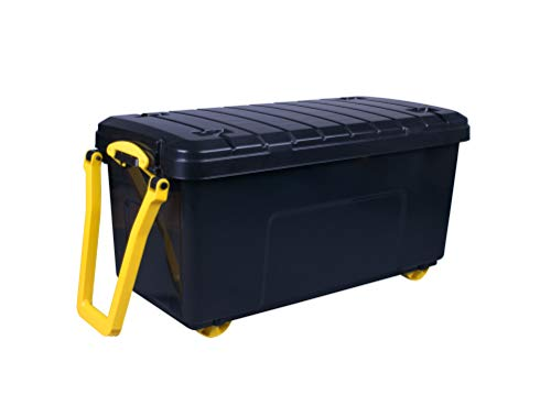 Really Useful Products 160 Litre Wheeled Trunk in Recycled, Black with Yellow Handle in Card, Recycled Black Base + Yellow Handle