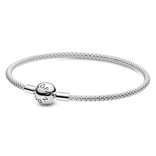 Pandora Moments Women's Sterling Silver Mesh Chain Bracelet for Charms, Size 19