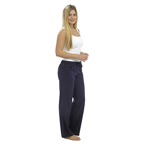 CityComfort Ladies Linen Casual Trousers Holiday Elasticated Waist Womens Summer Pants Trousers with Pockets (42, Navy)