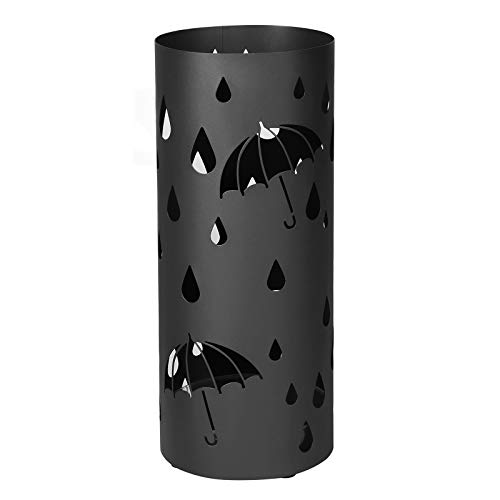 SONGMICS Metal Stand, Umbrella Holder with Water Tray and Hooks, 19.5 x 49 cm (Dia. x H), Round, Matte Black LUC23B