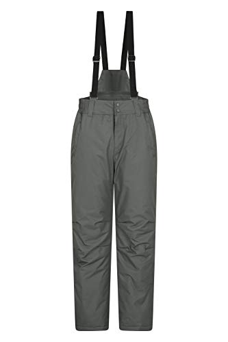 Mountain Warehouse Dusk Mens Ski Pants – Two Pockets Ski Trousers, Snow Gaiters, Elastic Waist & Water Repellent Mens Bottoms – Ideal For Winter Sports, Snowboarding Dark Grey XL