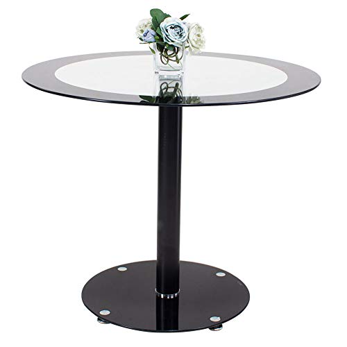 jeffordoutlet Glass Dining Table, Kitchen Round Black Tempered 90 cm Dining Table, Living Room Furniture (Round Glass Table)