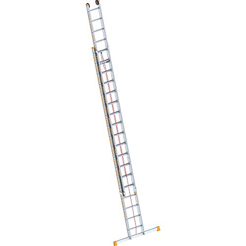 Layher 1037018Two Section Extension Ladder 2x 18Rungs Aluminium Rope-Operated Ladder Topic 9.30metres