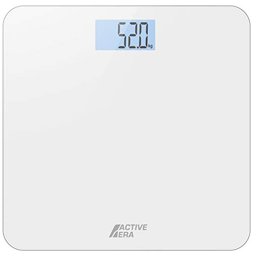 Active Era® Bathroom Scales Ultra Slim Digital & Compact with Tempered Glass Backlit Display & High Precision Sensors (Stone/kgs/lbs) - Gloss White