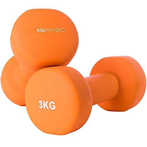 KG Physio Dumbbells Set and A3 Poster with Exercise Examples - dumbbells pair with Neoprene Coating, Comfortable grip, Sweat-resistant and Anti-roll Technology dumbbell set. (2 x 3KG)