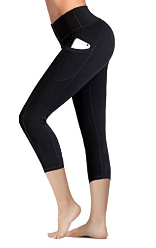 IUGA Capri Leggings with Pockets High Waist Cropped Trousers Yoga Pants for Women Running Active 3/4 Length Leggings for Workout Exercise & Fitness Black