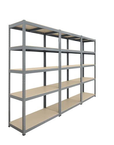 Storage Affairs Extra Heavy Duty Shelving: 3 Units, 176x90x45 (cm) | 265kg Per Shelf | Grey, 5 Tier Garage Storage Racking | 5 Adjustable Shelves, Boltless Assembly | For Shed, Home & Office