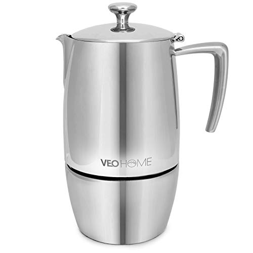 VeoHome Stovetop Espresso Coffee Maker - 10 Cups 500ml Multi-Stove Stainless Steel Induction Moka Pot - Unbreakable and Dishwasher-Safe Italian Style Caffe Machine