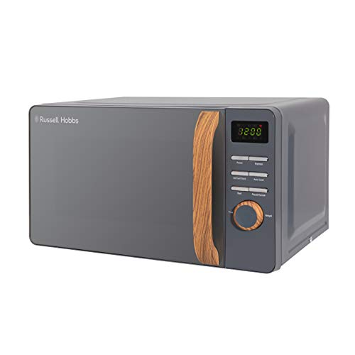 Russell Hobbs RHMD714G 17 L 700 W Scandi Grey Digital Microwave with 5 Power Levels, Wood Effect Handle & Dials, Clock & Timer, Automatic Defrost, Easy Clean, 8 Auto Cook Menus