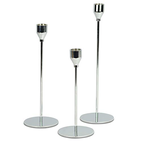 Tulip Candlesticks - Set of 3   Tall Iron Candle Holders   Kitchen Table Decorations   3 Different Sized Candlestick Candle Stands   M&W (Silver)