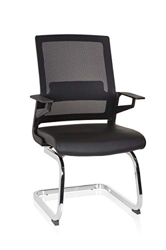 hjh OFFICE 732105 Conference Chair Inventor V PRO Faux Leather Black Cantilever Chair with Lumbar Support