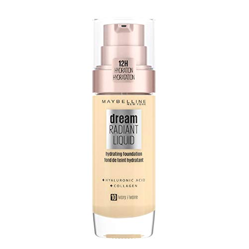 Maybelline Foundation, Dream Radiant Liquid Hydrating Foundation with Hyaluronic Acid and Collagen - Lightweight, Medium Coverage Up to 12 Hour Hydration - 10 Ivory