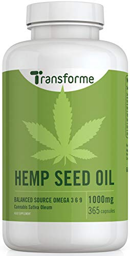 Hemp Seed Oil Capsules 1000mg | Cold Pressed 365 Softgels 12 Month Supply | High Strength with Omega 3 & Omega 6 - Made in The UK by Transforme