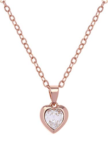 Ted Baker Hannela Crystal Heart Pendant Necklace - Rose Gold or Silver Tone Plated with Crystal (Rose Gold Tone/Crystal)