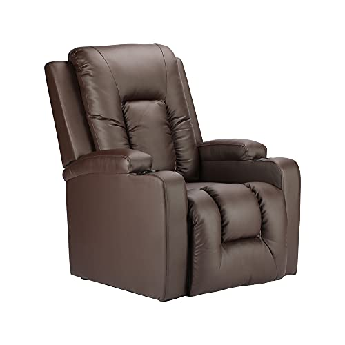 BonChoice Faux Leather Recliner Chairs Retro Brown, Wing Back Occasional Armchair Sofa Chair for Living Room Bedroom Fireside Adjustable Lounge Reclining Chair (PU Leather: Retro Brown)