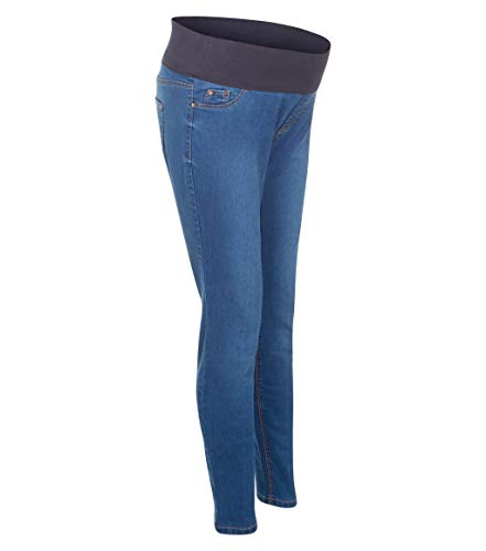 Ladies Ex New Look Over Bump Waistband Maternity Jeans Womens Skinny Fit Stretch Denim High Waist Rise Pull On Jeggings (Light Blue, 12)