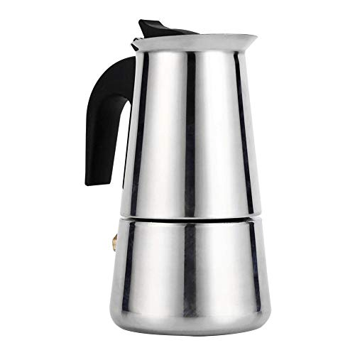 Espresso Italian Coffee Machine with Stainless Steel Filter Mocha Coffee Pot Silver 100/200/300/450 ml for Kitchen Office (Size: 200 ml).