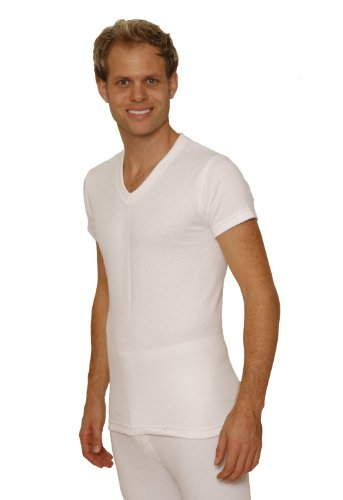 Octave 3 Pack Mens Thermal Underwear Short Sleeve 'V'-Neck T-Shirt/Vest/Top [White, Small]